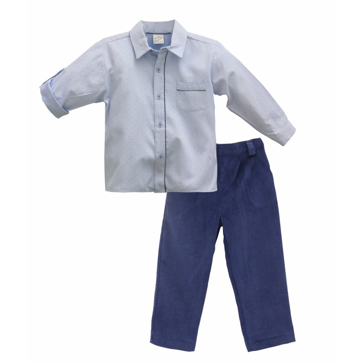 AW19 Pretty Originals Boys Pale Blue and Navy Trouser `Suit