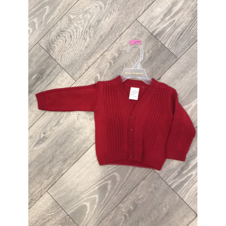 AW19 Pretty Originals Boys Red Cable Knit Cardigan
