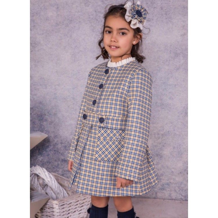 AW20 Babine Gold and Navy Checked Coat. 2112709A1