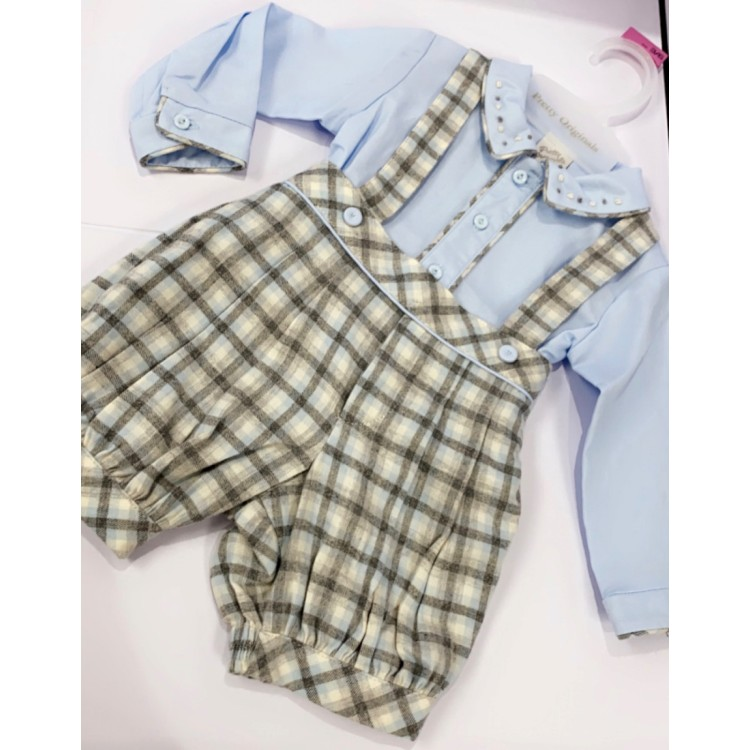 AW20 Pretty Originals. Blue and Grey check  romper.
