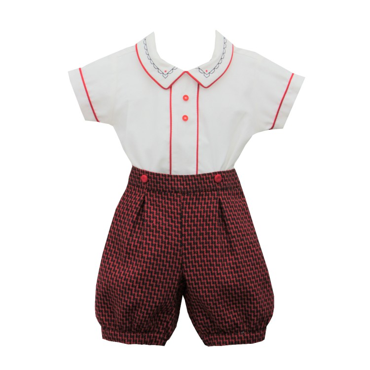 AW20 Pretty Originals Red/Navy cream Short Suit. DL61985E