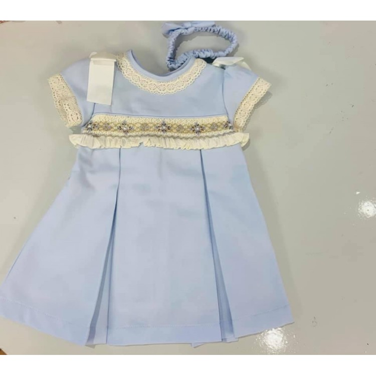 Aw20 Pretty Originals Smock Dress PaleBlue. MC01258