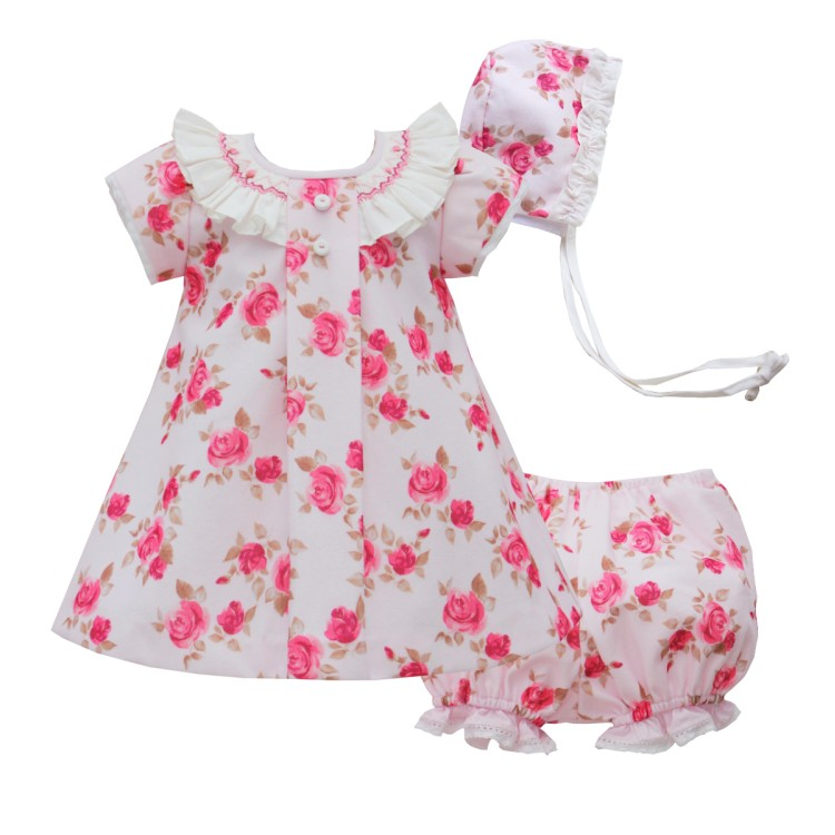 AW20 Pretty Originals Velour Floral Dress, Pants and Bonnet.  BD02010E