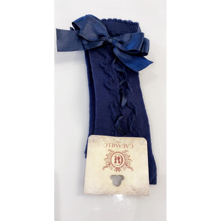 Caramelo Knee High ribbon and Bow Sock Navy