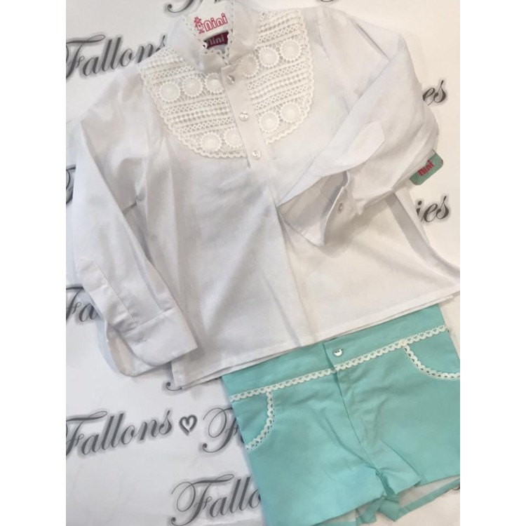Nini  Unisex Mint And Cream Short Suit