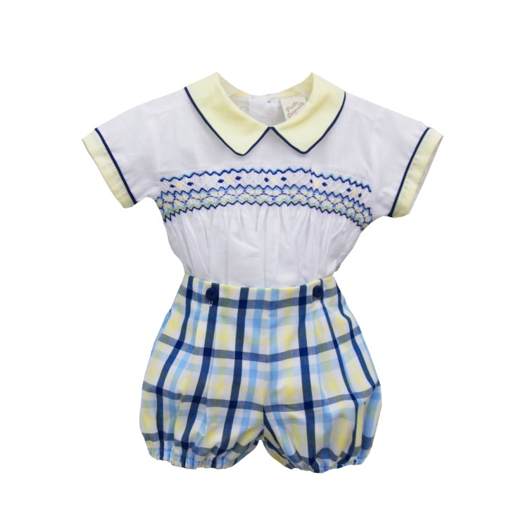SS20 Pretty Originals Baby Boys yellow and Navy  Short Suit DL08057E