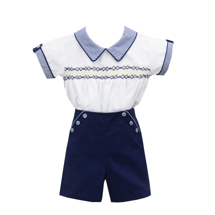 SS20 Pretty Originals Navy and white Smocked shirt/ short suit m