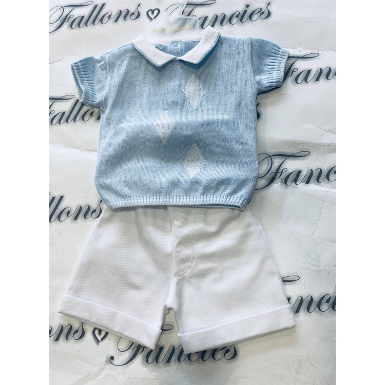 SS20 Pretty Originals Pale Blue and white diamond jumper and short suit. Jpk 2185B