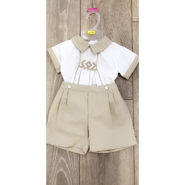 SS20 Pretty Originals Wheat and White smocked short suit.