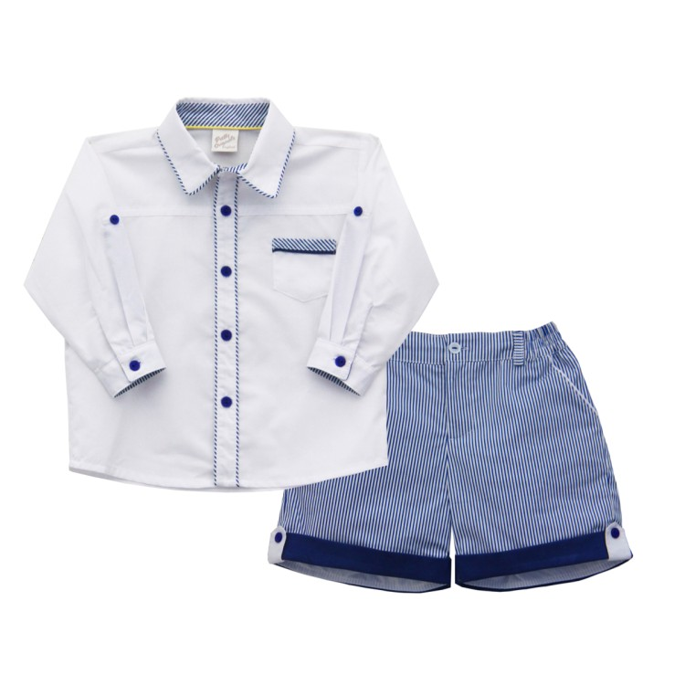 SS20 Pretty Originals Boys White And Navy Striped Short Suit.