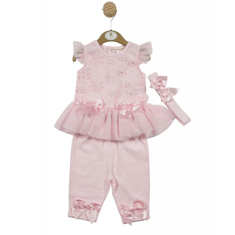 SS21. Mintini Pink legging suit with headband. 4560