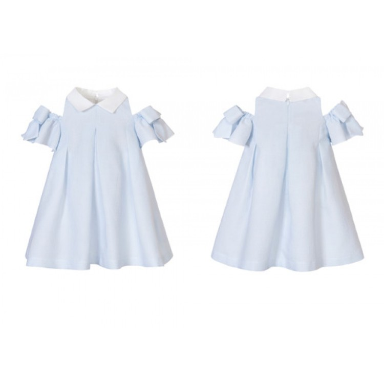 SS21 Balloon Chic Blue dress trimmed with white. 216