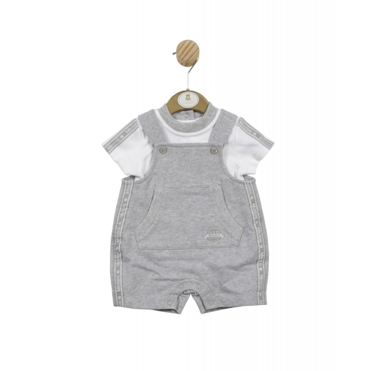 SS21 Mintini Grey n White Dungaree short suit.  MB4578