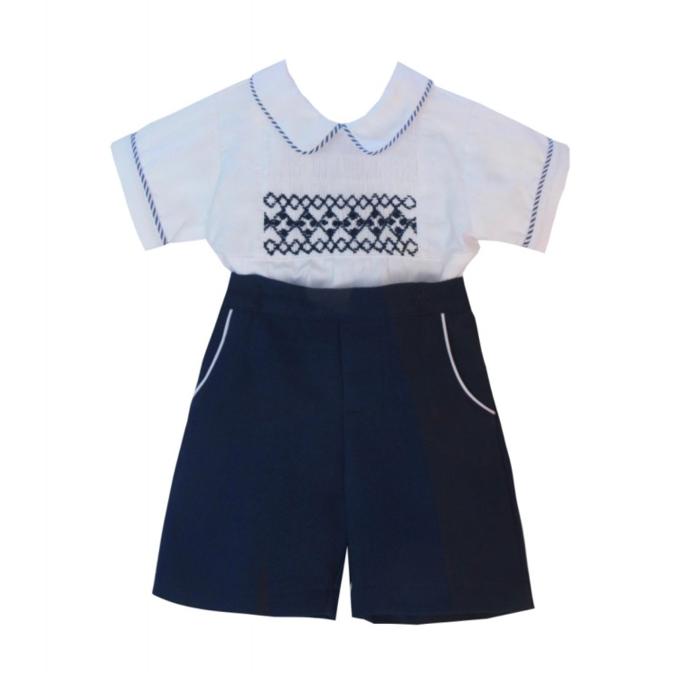 SS21 Pretty Originals white with Navy short suit. MT02122N