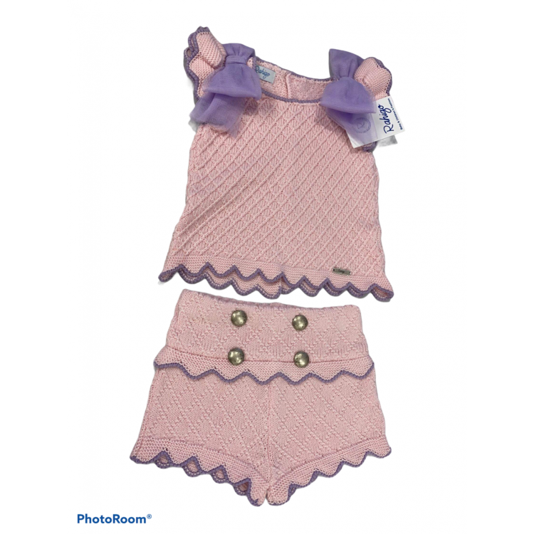 SS21 Rahigo. Girls 2 piece short suit Baby Pink with Lilac. 21122